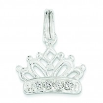 CZ Crown Charm in Sterling Silver