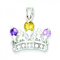 Citrine Amethyst Crown Pendant in Sterling Silver