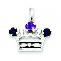 Amethyst Iolite Crown Pendant in Sterling Silver