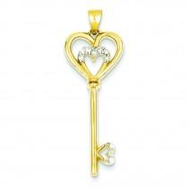 CZ Heart in Silver Heart Key Pendant in Sterling Silver