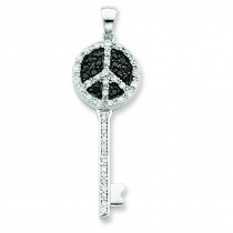 Black Clear CZ Peace Sign Top Key Pendant in Sterling Silver