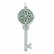 CZ Key Locket in Sterling Silver