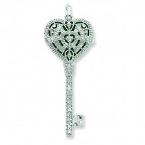 CZ Heart Key Locket in Sterling Silver