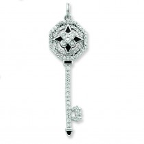 CZ Octagon Key Pendant in Sterling Silver