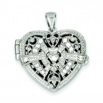CZ Design Heart Locket Pendant in Sterling Silver