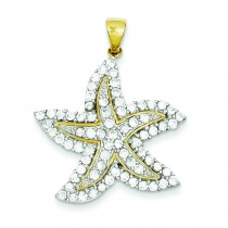 CZ Starfish Pendant in Sterling Silver