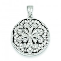 CZ Circle Flower Design Locket Pendant in Sterling Silver