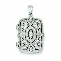 CZ Oval Design Square Locket Pendant in Sterling Silver