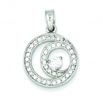 Circle CZ Pendant in Sterling Silver