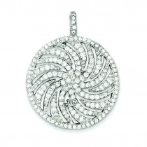 CZ Large Circle Swirl Pendant in Sterling Silver