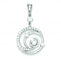 Fancy Swirl CZ Circle Pendant in Sterling Silver