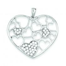 CZ Hearts Pendant in Sterling Silver