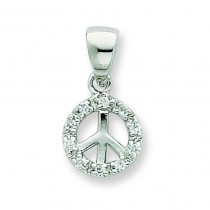 Small CZ Peace Pendant in Sterling Silver