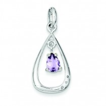 Diamond Accent Amethyst Teardrop Pendant in Sterling Silver
