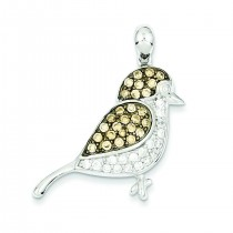 Clear Champagne CZ Bird Pendant in Sterling Silver