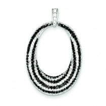 Black White CZ Open Oval Fancy Pendant in Sterling Silver