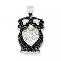 Black White CZ Owl Pendant in Sterling Silver