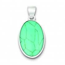 Turquoise Oval Pendant in Sterling Silver