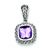 Antiqued Purple CZ Pendant in Sterling Silver