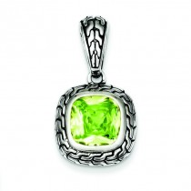 Antiqued Light Green CZ Pendant in Sterling Silver