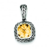 Antiqued Champagne CZ Pendant in Sterling Silver