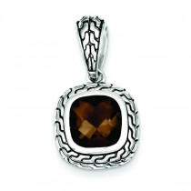 Antiqued Brown CZ Pendant in Sterling Silver