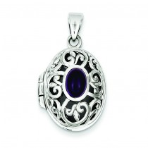 Amethyst Locket in Sterling Silver