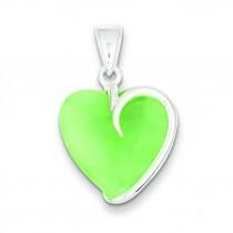 Green Jade Heart Pendant in Sterling Silver