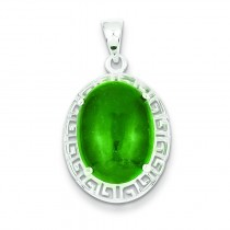 Jade Greek Key Pendant in Sterling Silver