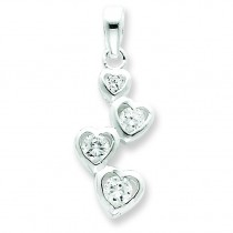 Graduated CZ Heart Pendant in Sterling Silver
