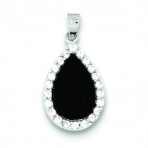CZ Onyx Pendant in Sterling Silver