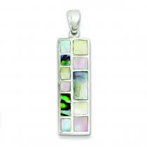 Multi Colored Mother Of Pearl Pendant in Sterling Silver