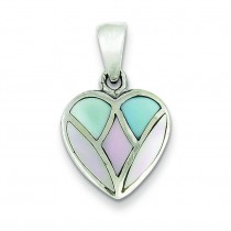 Pink Blue White Shell Heart Pendant in Sterling Silver