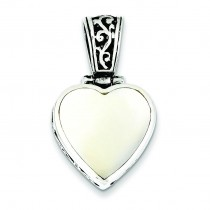 Mother Of Pearl Heart Pendant in Sterling Silver