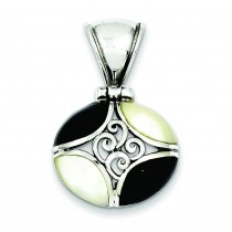 Black Onyx Mother Of Pearl Pendant in Sterling Silver