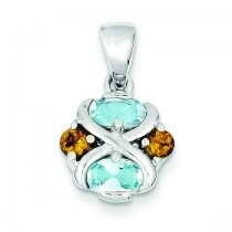 Blue Topaz Citrine Pendant in Sterling Silver