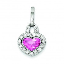 Pink Clear CZ Heart Pendant in Sterling Silver