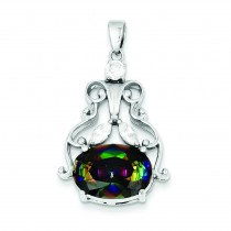 Mystic Clear CZ Pendant in Sterling Silver