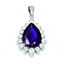 Purple Clear CZ Pendant in Sterling Silver