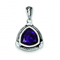 Purple CZ Pendant in Sterling Silver