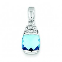 Blue CZ Pendant in Sterling Silver