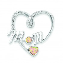 Pink Opal CZ Mom Pendant in Sterling Silver