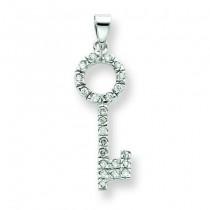 CZ Key Shape Pendant in Sterling Silver