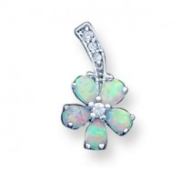 Opal Flower Pendant in Sterling Silver