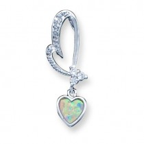Opal CZ Heart Pendant in Sterling Silver