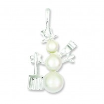 Cultured Pearl Snowman Pendant in Sterling Silver