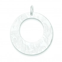 Embossed Circle Pendant in Sterling Silver