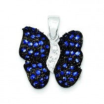 Antiqued Blue CZ Butterfly Pendant in Sterling Silver