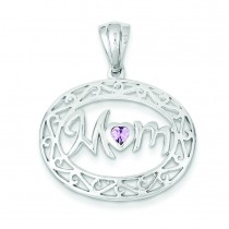 Lavender CZ Mom Pendant in Sterling Silver