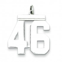 Large Number 46 in Sterling Silver